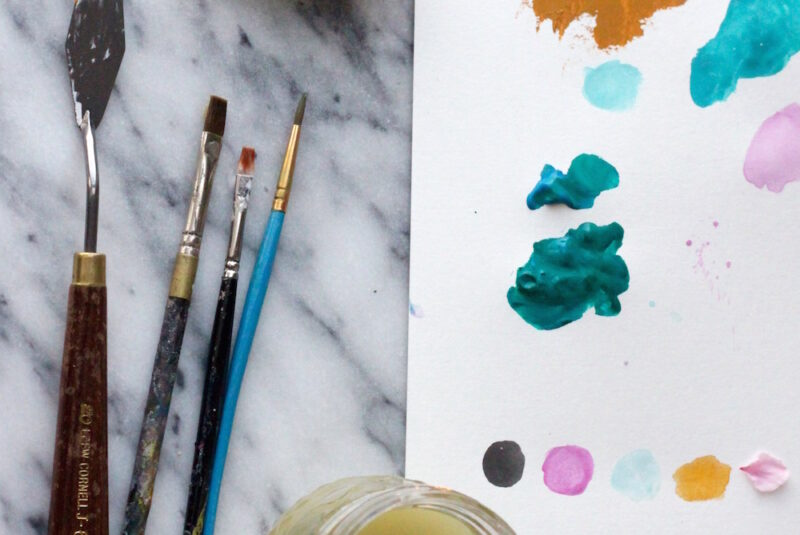 watercolor paints and art supplies