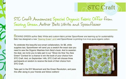 Sewing-green promotion - win a book