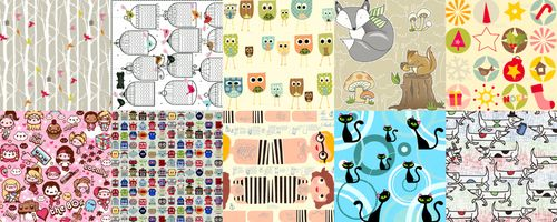 top ten tags for Spoonflower fabrics: birds, calendars, owls, woodland, christmas, kawaii, robots, dolls, cats, dogs