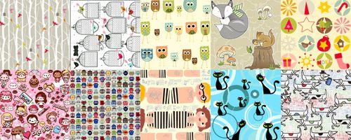 top ten tags for Spoonflower fabrics: birds, calendars, owls, woodland, christmas, kawaii, robots, dolls, cats, dogs