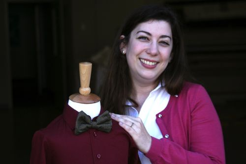 Melodie showing off a bowtie made from KatieLukas' houndstooth design