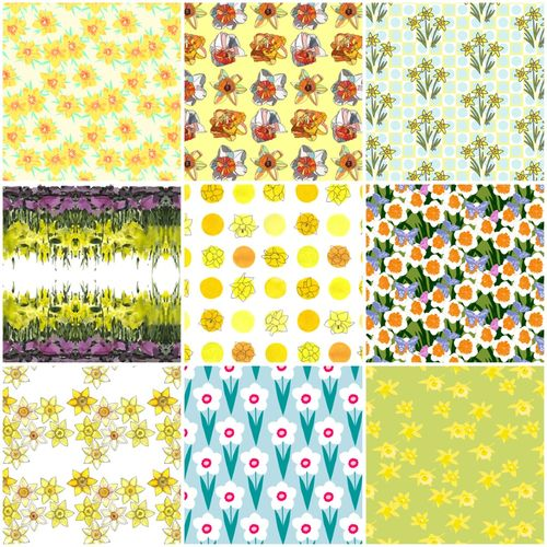 Daffodil fabrics collage