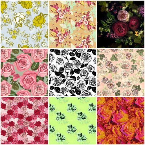 Rose fabrics collage