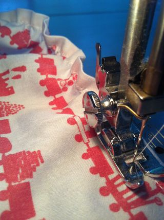 Sewing the first row of shirring stitches