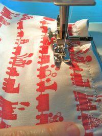 Stretch the fabric slightly as you shirr
