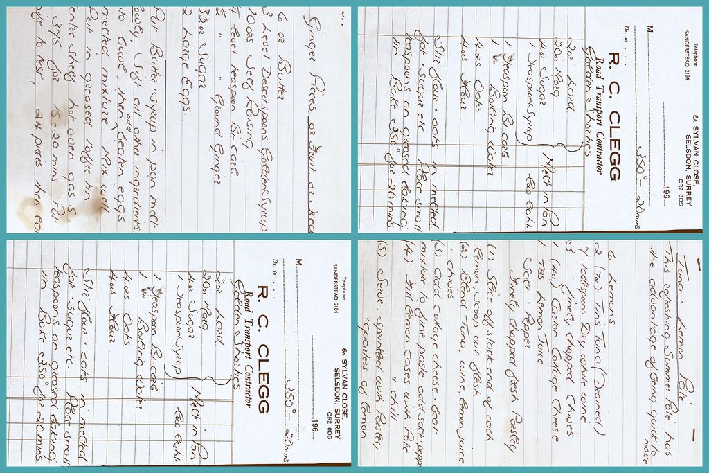 Four handwritten recipes