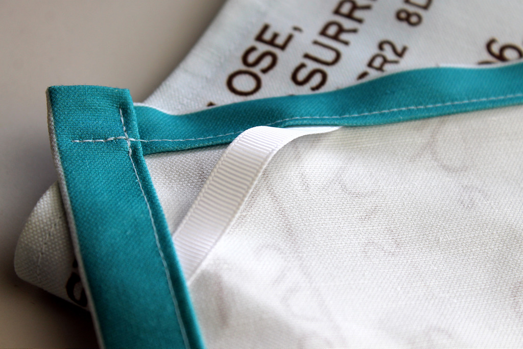 twill tape makes these recipe tea towels very easy to hang