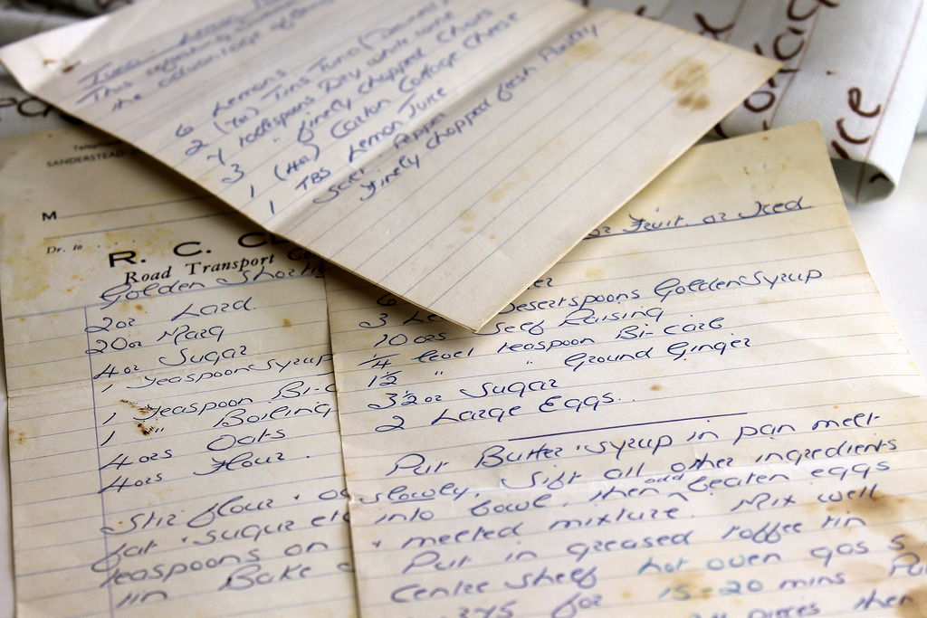 Old Grease Stained Recipes Before Getting Scanned In