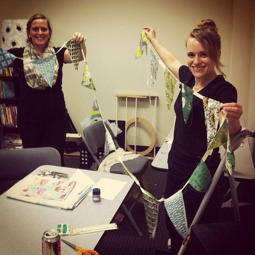 Darci and Allie make bunting