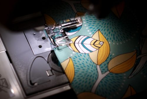 sewing fabric to card stock