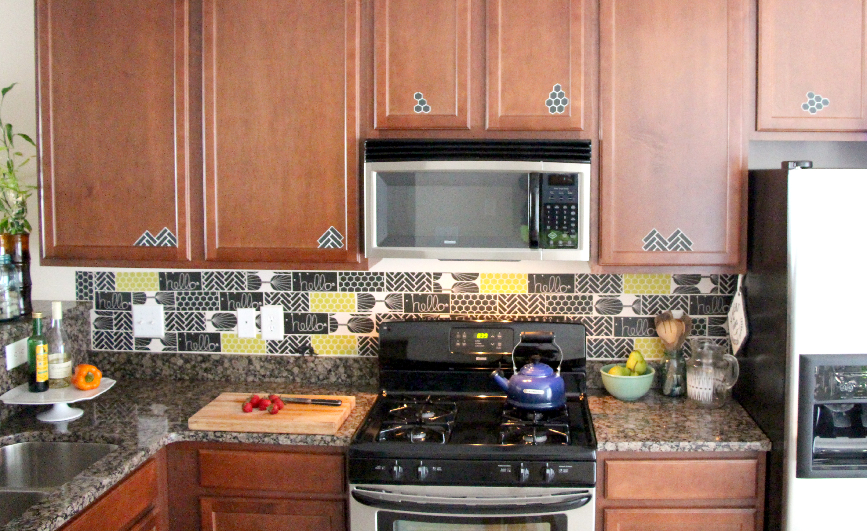 peel and stick kitchen tiles tutorial spoonflower blog With kitchen cabinets lowes with peel off wall stickers