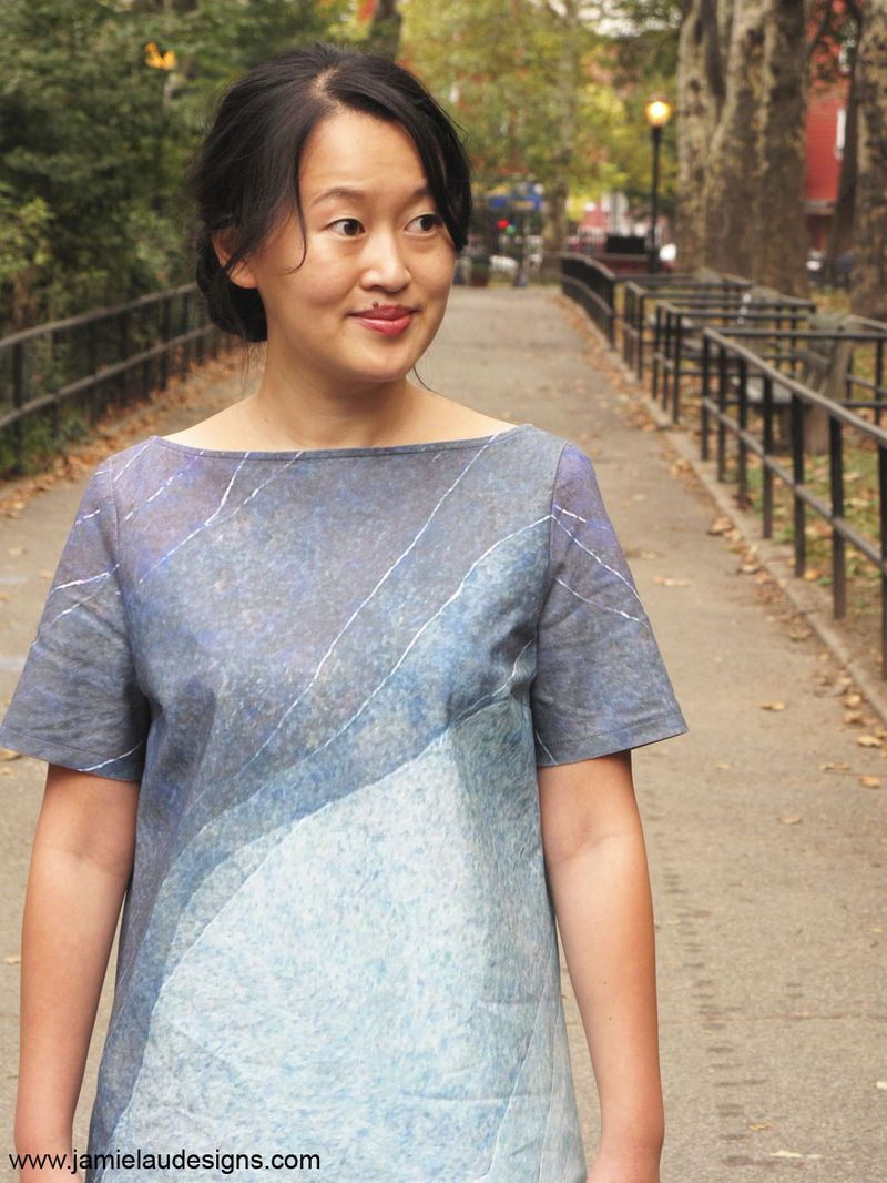 Jamie Lau Designs Blue Gradient A-line Shift Dress