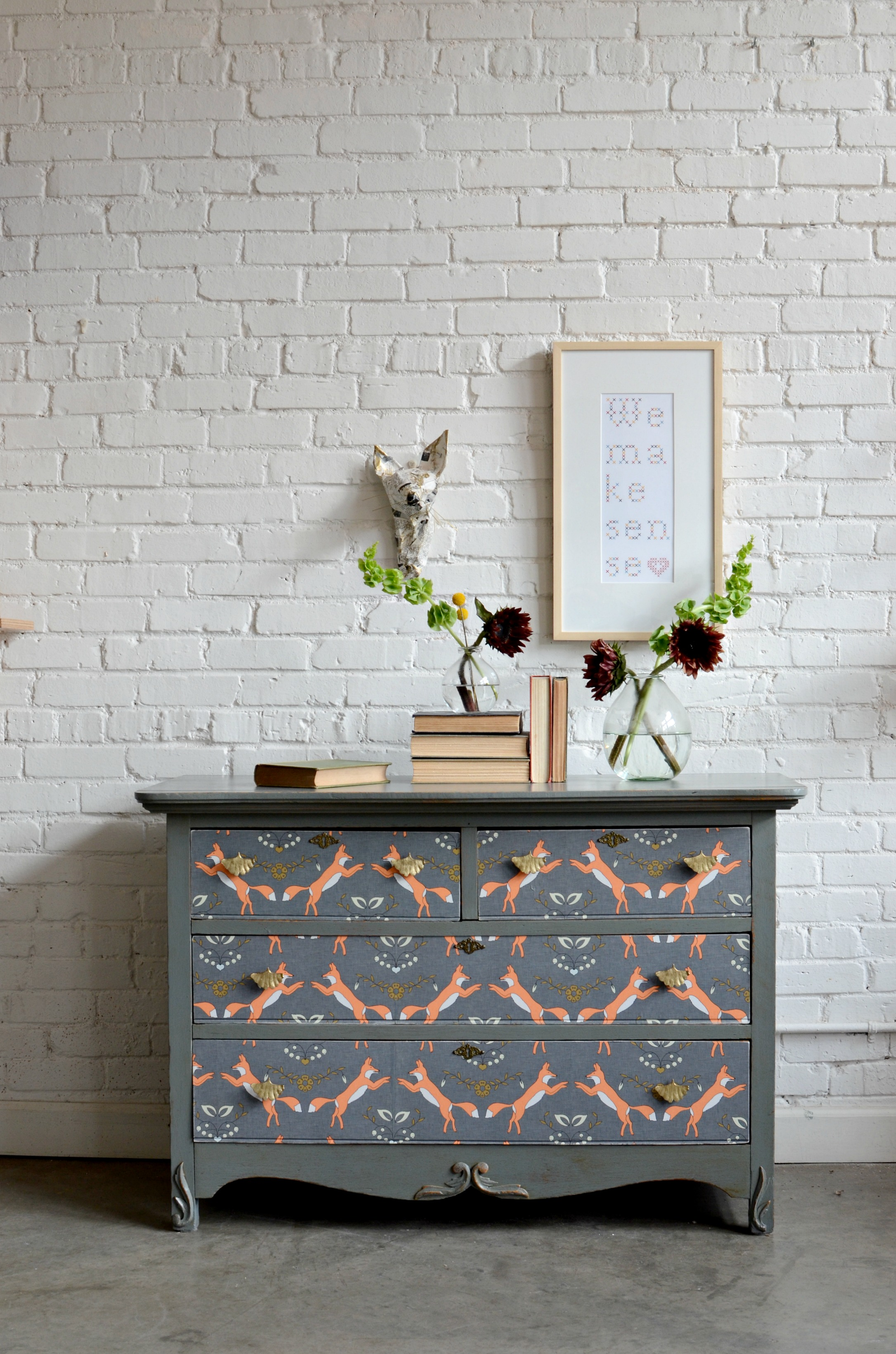 Dresser upcycle diy home decor spoonflower blog for Wallpaper home furnishings