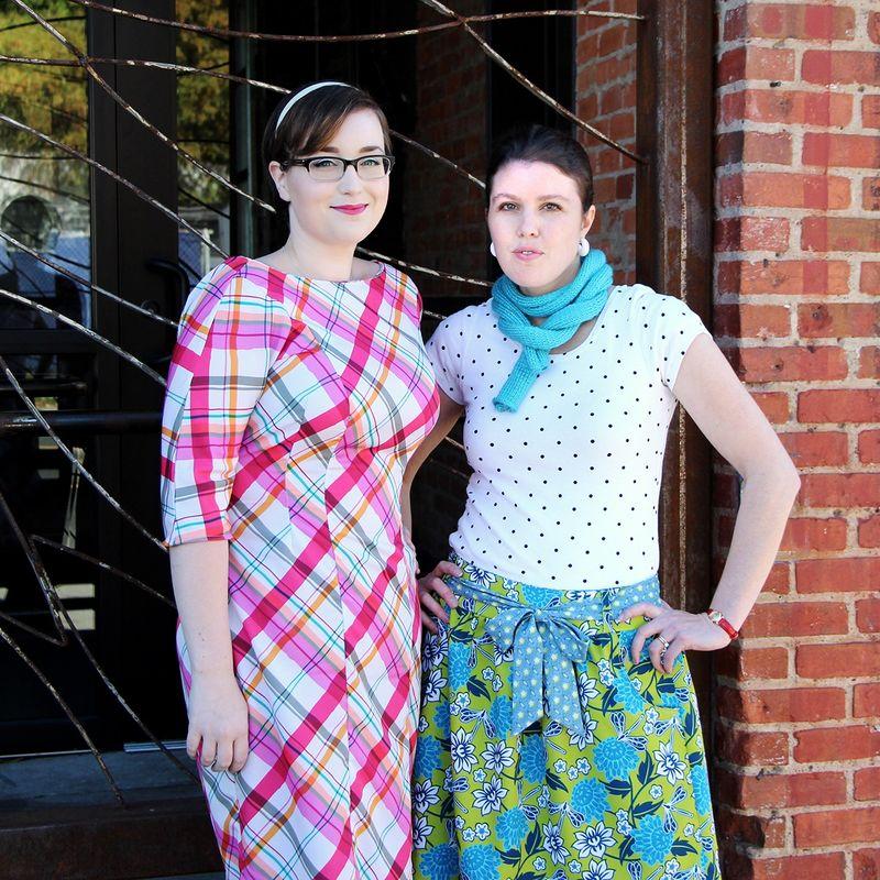 Beth & Holly Modeling Silky Faille Garments