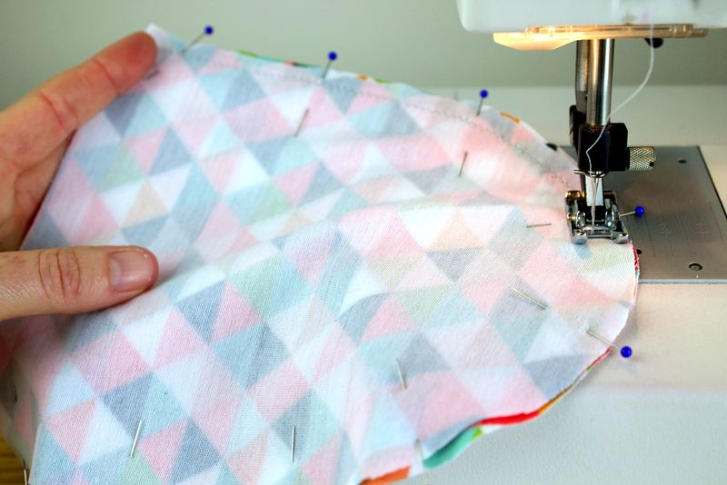 Sewing hat pieces, right sides together | Spoonflower Blog