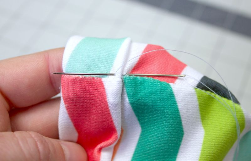 Tack up the turn to keep it in place | Spoonflower Blog