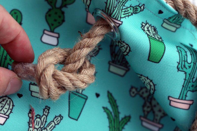 attaching the hemp straps: close up