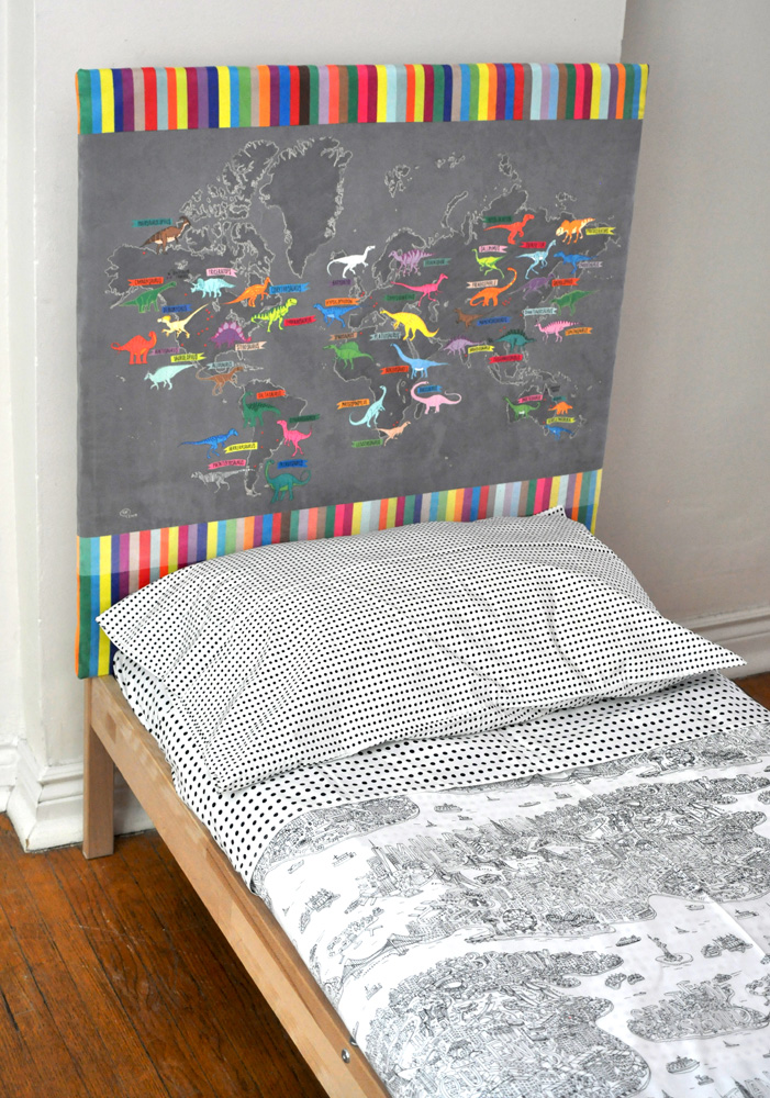 Dino Map Headboard Project + Faux Suede Upholstery Tutorial