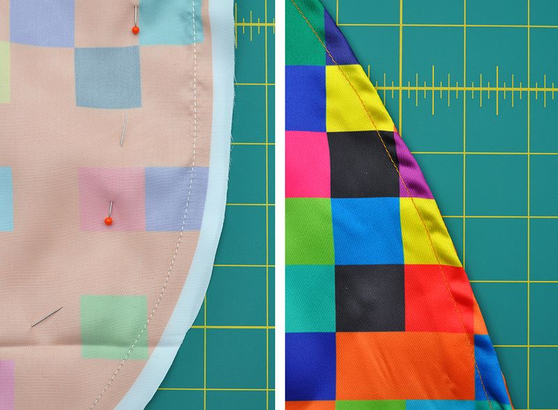 sewing the edges of your DIY pixel cape