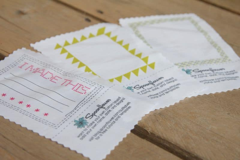 design your own custom quilt labels using Spoonflower