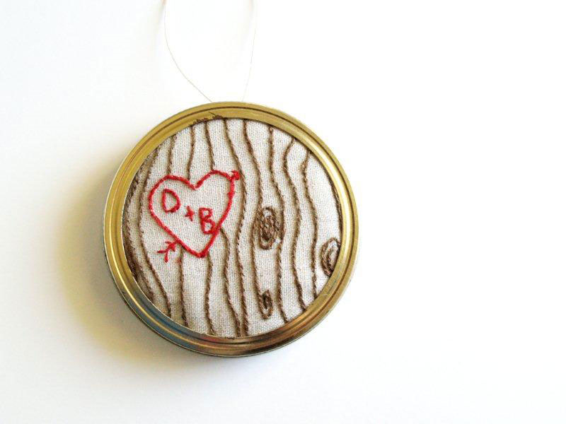 Embroidered Carved Heart Ornament
