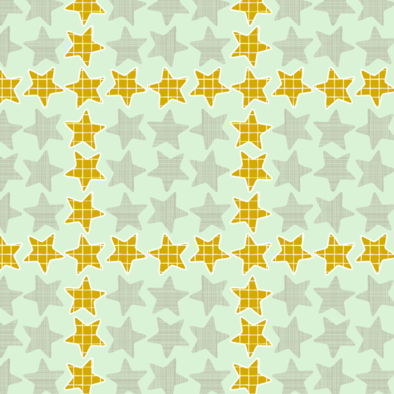 Mint Gold Checker Stars by Mrs. Hervi