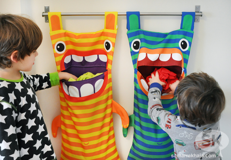 Hungry monster laundry bags spoonflower blog kids filling monster bags solutioingenieria Choice Image