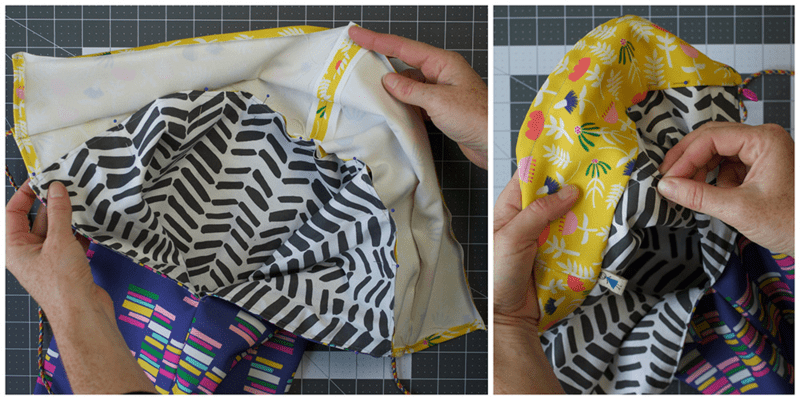 Sewing contrast print to bag top