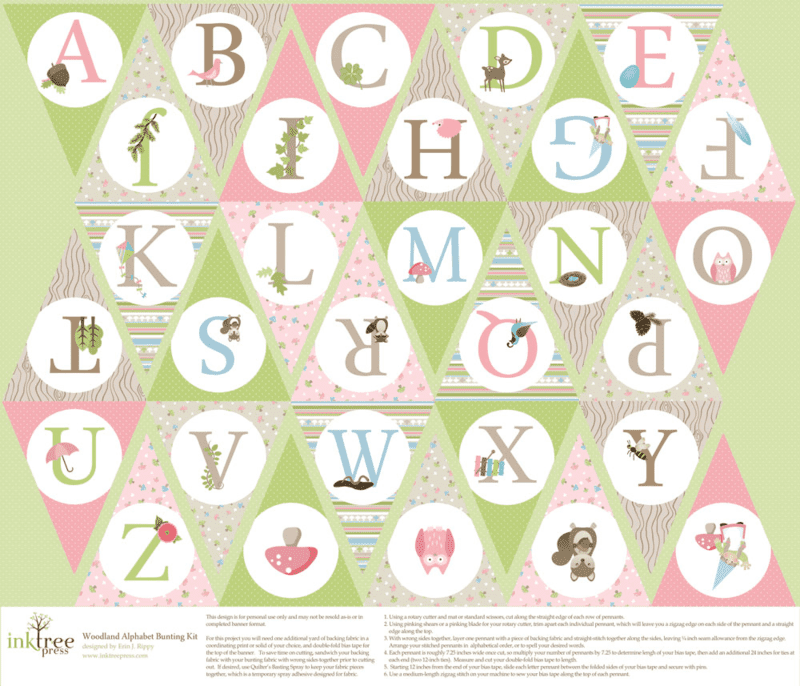 Pink Woodland Alphabet Bunting by InkTreePress