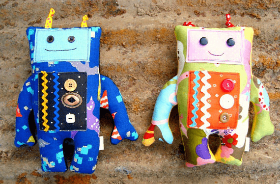 Mr. and Mrs. Roboto Plushies by Patchwork Posse