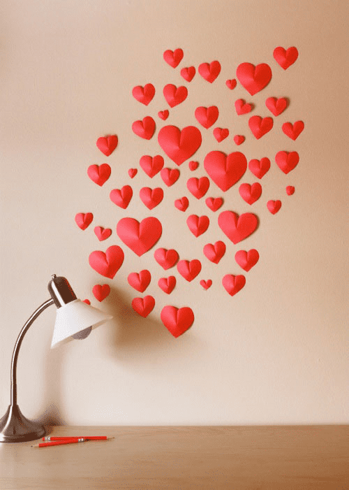 Wall of 3D Paper Hearts