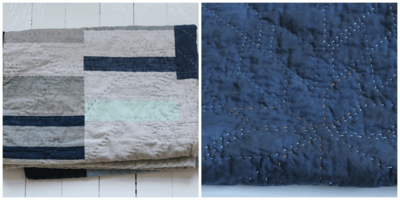 Details of a Kye + Hardy crib quilt