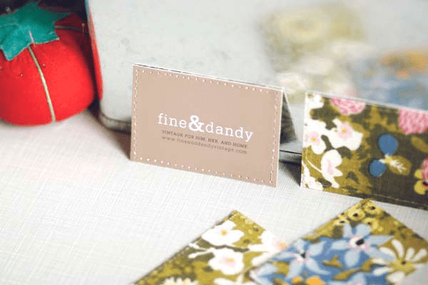 Fabric Backed Business Cards by Candi Mandi
