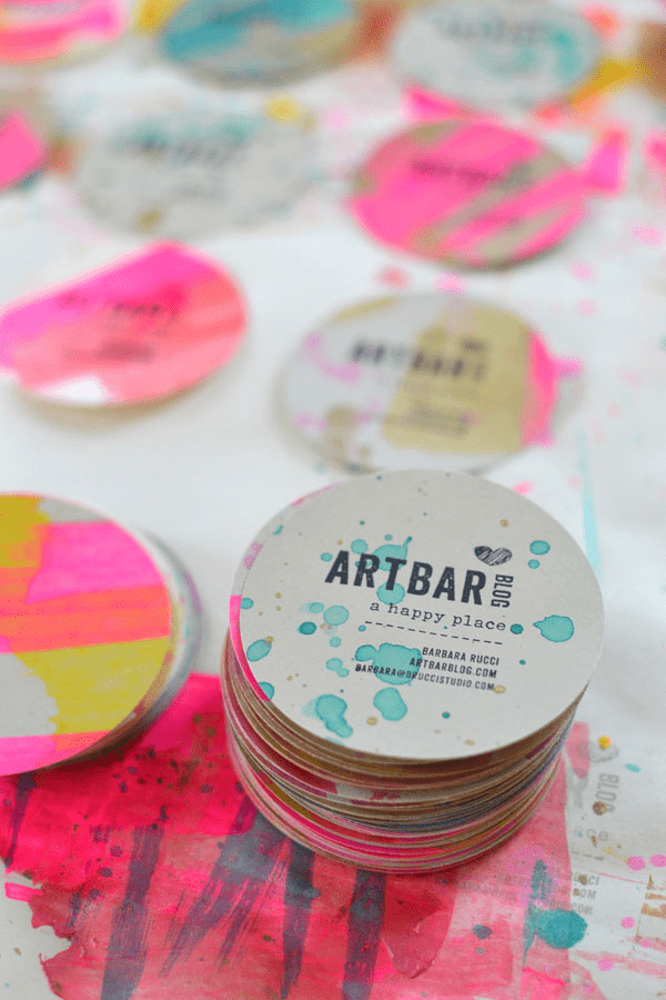 Art Bar painted business cards
