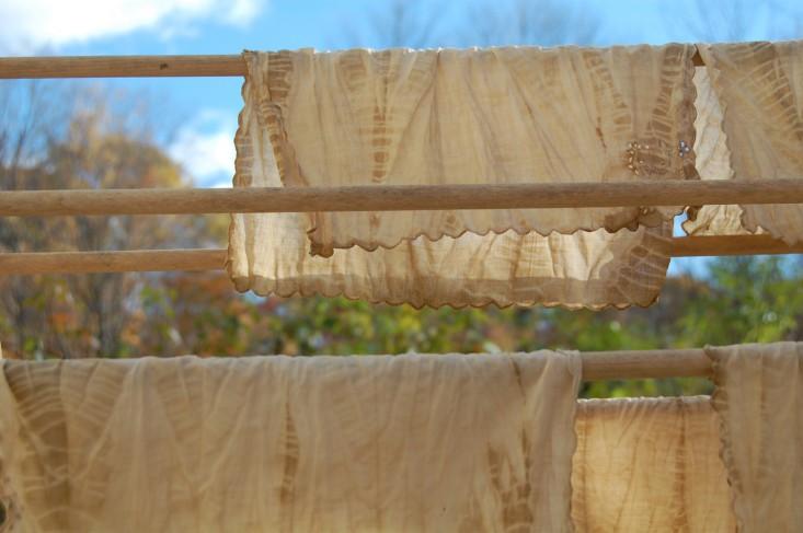 Black walnut tie dye napkins drying
