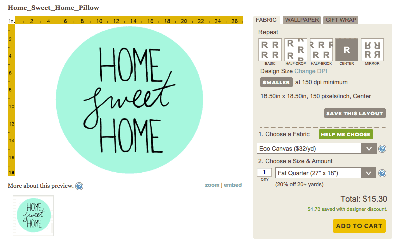 Ordering fabric from Spoonflower