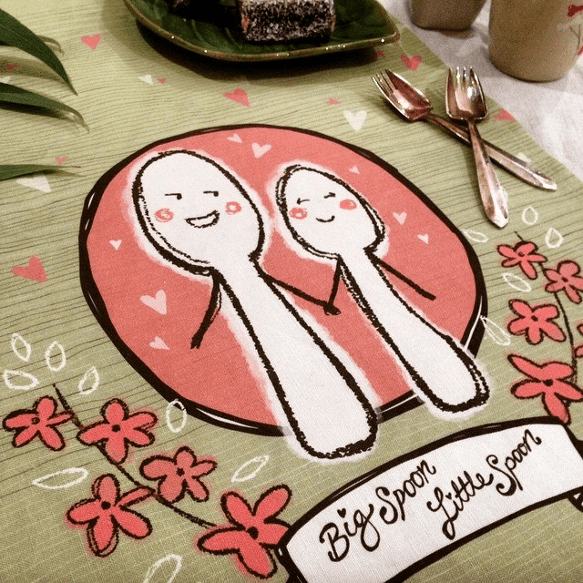 big spoon little spoon tea towel