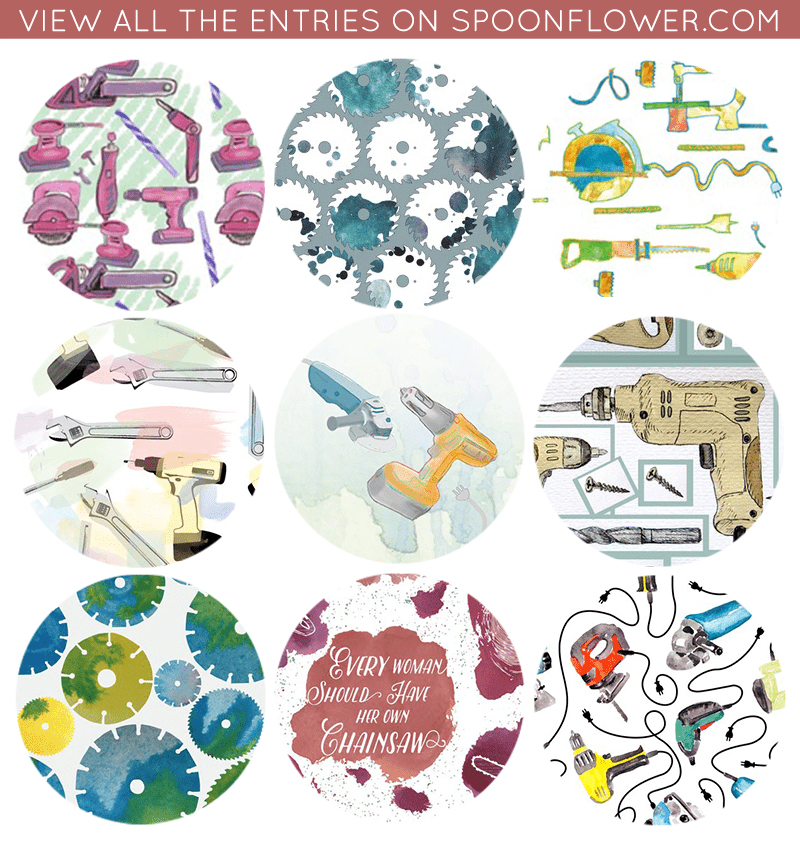 Vote for Your Favorite Watercolor Power Tools Fabric!