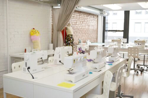 Sewing space at Pins & Needles