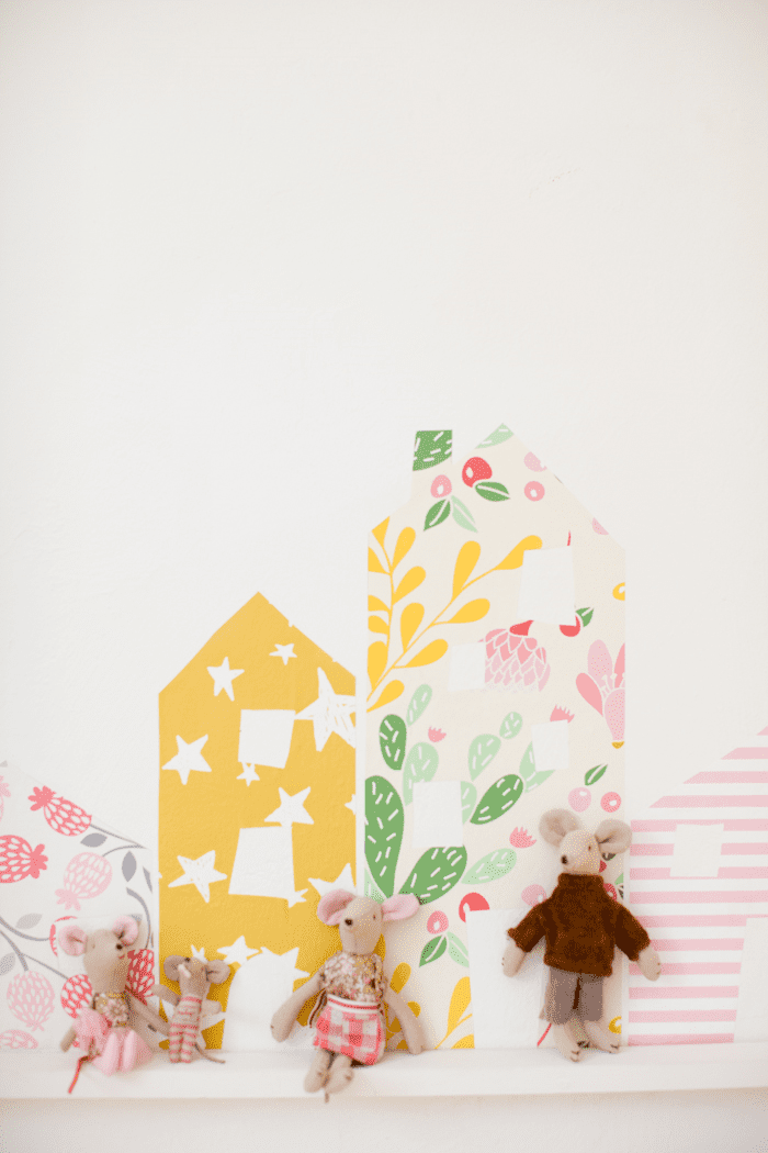 DIY Row of Wallpaper Houses