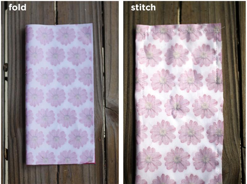 fold and stitch around the edges