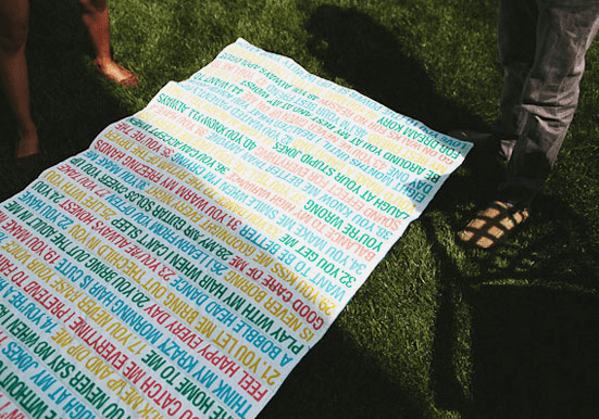 Custom blanket featuring reasons this bride loves her groom