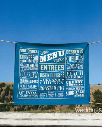 Fabric menu printed for Kate Bosworth's Montana wedding