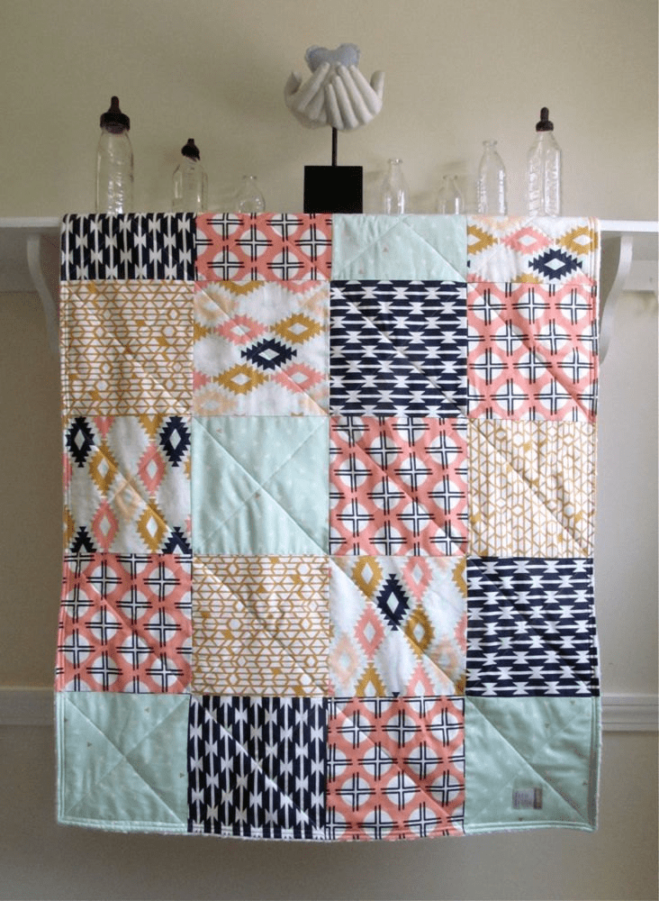 peachy patchwork baby quilt