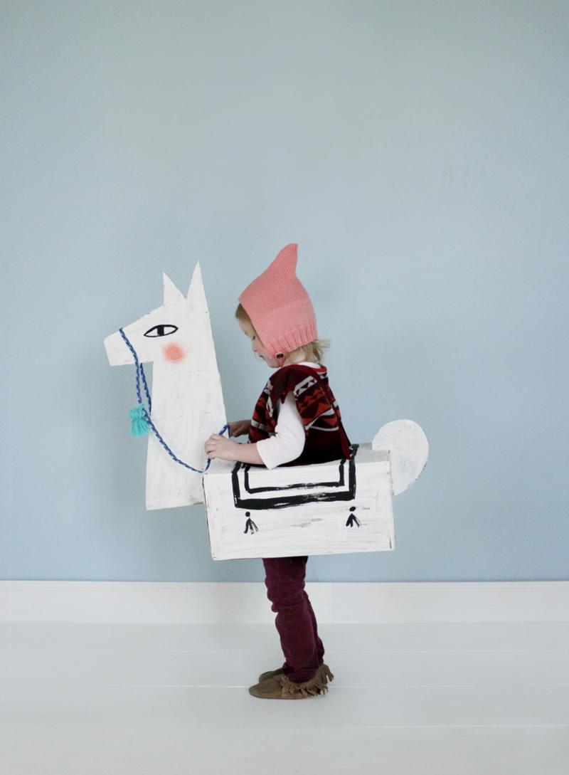 DIY cardboard llama costume