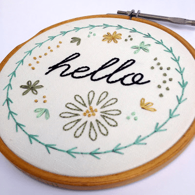 Hello embroidery sample