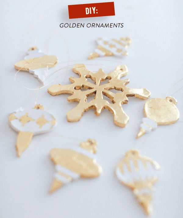 DIY Gold Painted Holiday Ornaments
