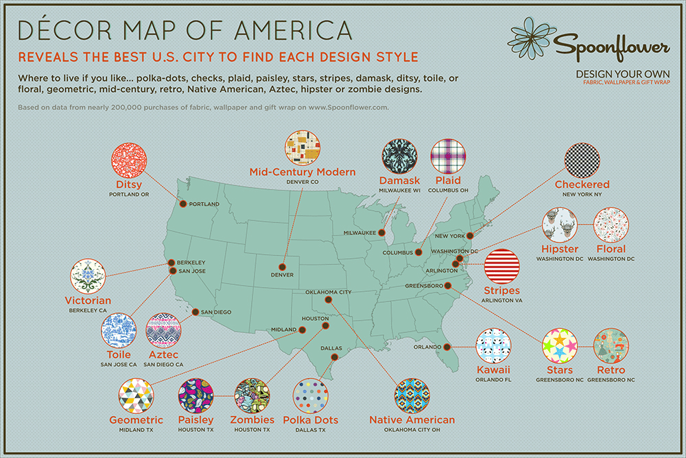 Announcing The Décor Map Of America Based On Purchases By - Map of us purchases