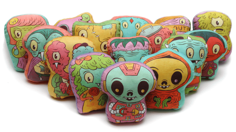 Mini monsters printed on Spoonflower fabric