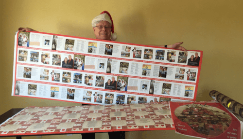 Doug Hughes Spoonflower gift wrap to make widest Christmas newsletter